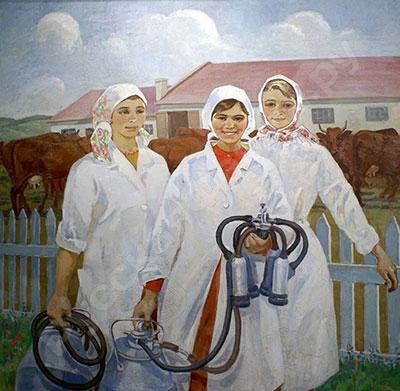 Работницы с доильным аппаратом